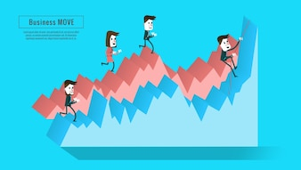 Empresários no gráfico