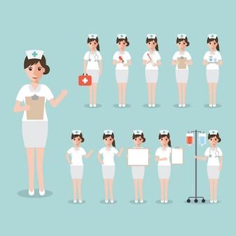 Enfermeira em posições diferentes