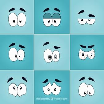 Engraçado pacote olhos dos desenhos animados