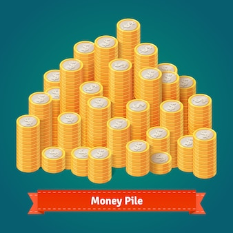 Enorme pilha de moedas de ouro empilhadas.