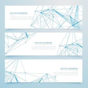 Enquetes de rede de fio digital abstrato conjunto de três banners