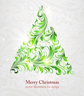 Enrolar, retro, feriado, textura, árvore