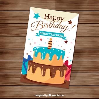 Entregue o cartão de bolo de aniversário desenhada