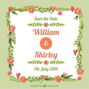 Entregue o cartão de casamento pintado floral