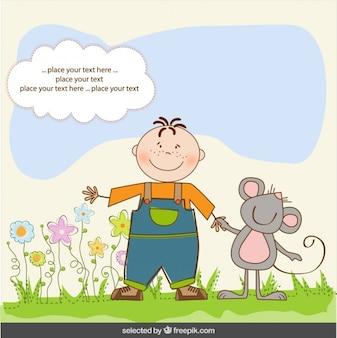 Entregue o cartão desenhado com menino e um rato