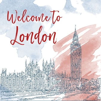 Entregue o esboço da tinta desenhada de fundo Londres Watercolor