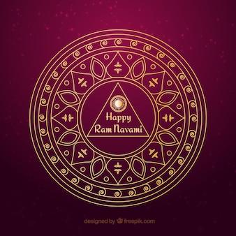 Entregue o símbolo decorativo desenhado Ram Navami