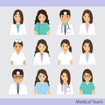 Equipa médica ícones coleção