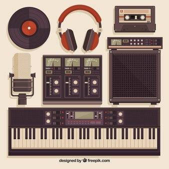 Equipamento de estúdio de música no estilo do vintage