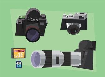 Equipamento do fotógrafo no trabalho. Ilustração do vetor