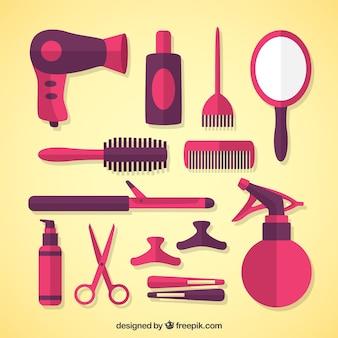 Equipamentos de cabeleireiro no design plano