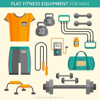 Equipamentos de fitness plano para o homem