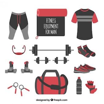 Equipamentos de ginástica para o homem na cor vermelho e preto