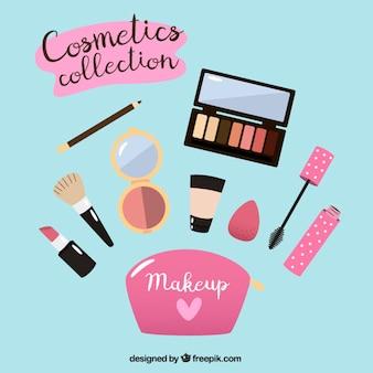 Equipamentos de make-up no design plano