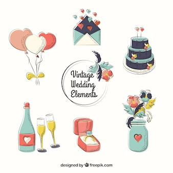 Esboçado elementos de casamento pacote