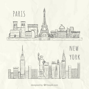 Esboçado skylines Nova York e Paris