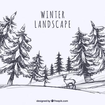 Esboço da paisagem com árvores e veados