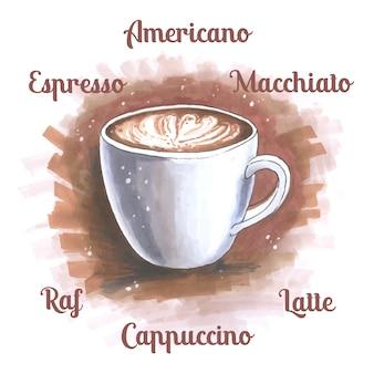 Esboço, ilustração, copo, café