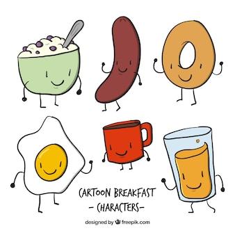 Esboços agradáveis personagens de alimentos para o pequeno almoço