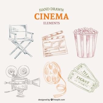 Esboços coloridos elementos do cinema