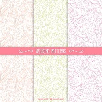Esboços coloridos padrões florais do casamento