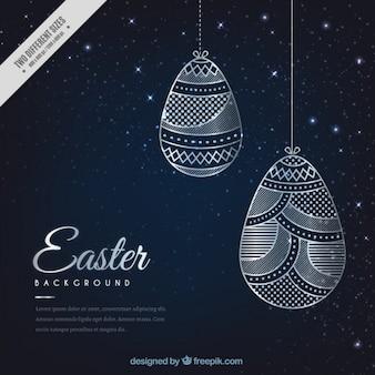 Esboços de Páscoa ovos ornamentos fundo
