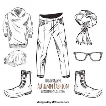 Esboços de roupas outono e acessórios
