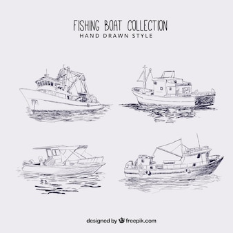 Esboços do barco de pesca