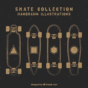 Esboços do vintage skates definir