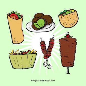 Esboços típico conjunto de comida árabe