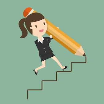 Escadas de desenho da mulher de negócios