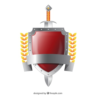 Escudo de prata com espada