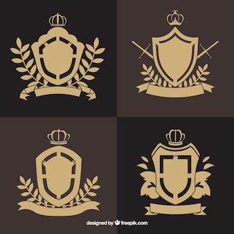 Escudos emblemáticos com detalhes florais