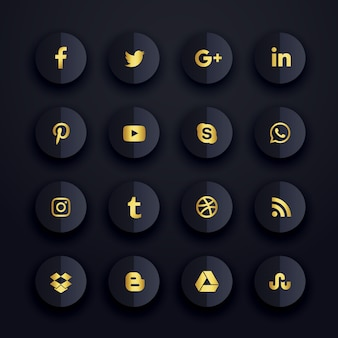 Escuro premium social media ícones conjunto
