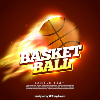 Esfera do basquetebol no fundo chamas