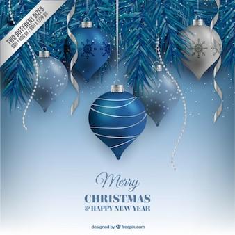 Esferas azuis do Natal fundo