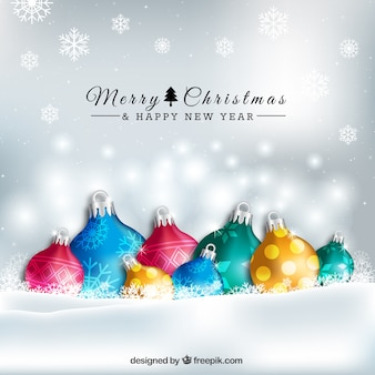 Esferas coloridas do Natal fundo