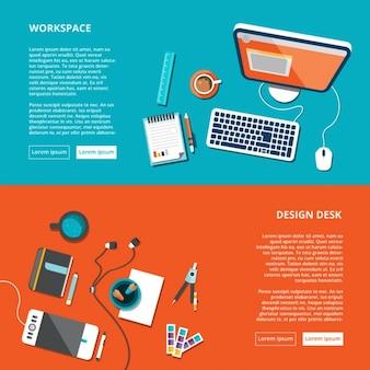 Espaço de trabalho ambiente de trabalho acima da vista