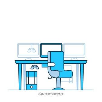 Espaço de trabalho design plano