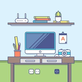 Espaço de trabalho designer criativo