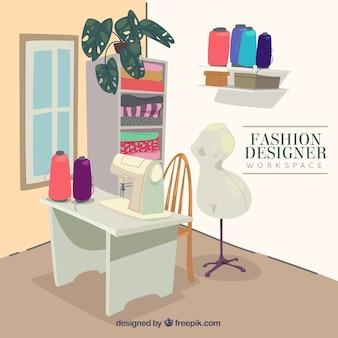 Espaço de trabalho designer de moda