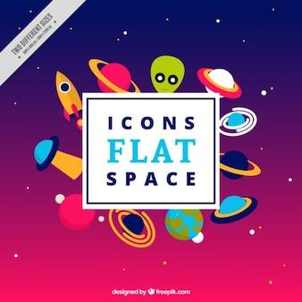 Espaço ícones em design plano