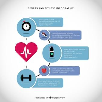 Esporte e infografia de fitness com um coração principal