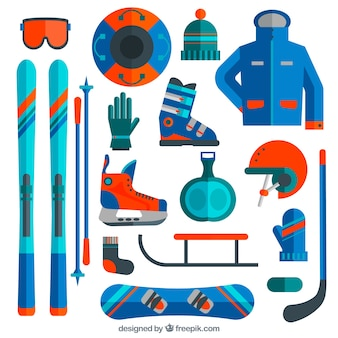 Esqui e snowboard equipamento em design plano