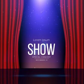 Estágio do teatro com cortinas abertas