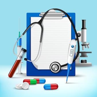 Estetoscópio e anotações quadro médico