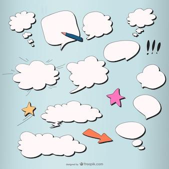 estilo cômico da nuvem camada vetorial cogumelo caixa de diálogo
