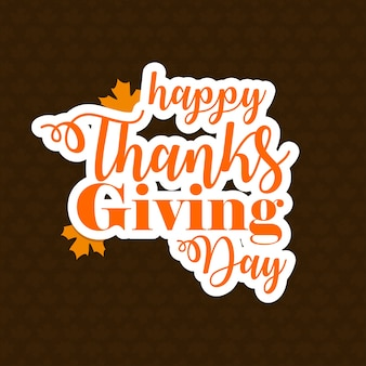 Estilo de design plano, Dia do Dia da Ação de Graças, emblema e ícone.