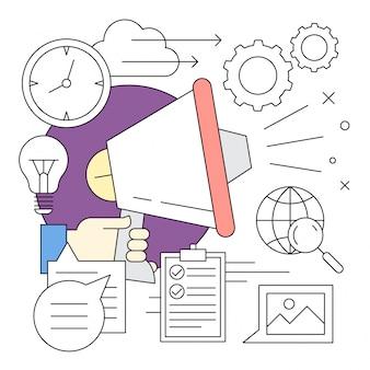Estilo Linear Icon Minimal e elementos de marketing