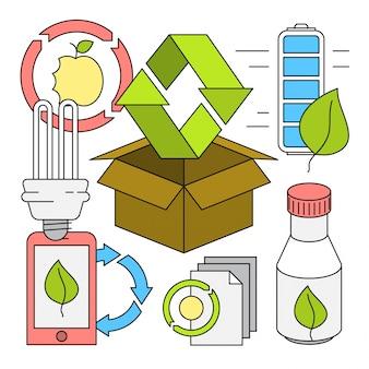 Estilo Linear Reciclagem de elementos vetoriais
